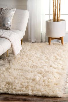 nuLOOM Hand-woven Alexa Flokati Wool Shag Rug x - 12537440 - Overstock - Great Deals on Nuloom - Rugs - Mobile Natural Area Rugs, Natural Rug, Tapete Shaggy, Apartment Inspiration, Plush Rugs, Rugs Usa, Bedroom Carpet, Living Room, Ideas