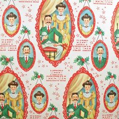 Turn of the Century Husband and Wife - MERRY CHRISTMAS - Vintage - Wrapping Paper Gift Wrap