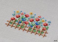 """Tvoros žydi - akys džiaugiasi. Šis darbelis buvo labai mielas!   Flowers everywhere!   Cross stitchers club  schema """"Flowered Fences"""", Zweig..."""