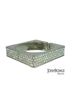 AB/Silver Pave Square Hinged Bangle