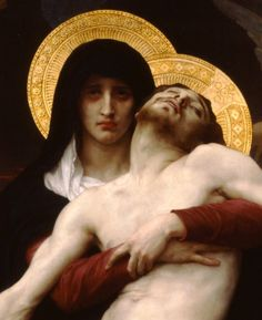 detail from Bouguereau's Pietà -- up-close of Mary and Jesus. Just look at her face. :'(