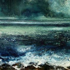 Stewart Edmondson The Bright Sea Rolls, Acrylic on paper 87 x Seascape Paintings, Landscape Paintings, Sea Art, Large Painting, Texture Art, Abstract Landscape, Fine Art, Lighted Canvas, Wood Canvas