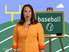 baseball - Signing Time Sign Language Dictionary, Sign Language Book, Sign Language For Kids, American Sign Language, Learning Asl, Baseball Signs, Asl Signs, Hobbies, Education