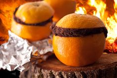 Fancy Camping Food: Cut the tops off about 10 oranges and scoop out the pulp. Fill the oranges three-quarters of the way with chocolate cake batter (cake mix works fine), then put the orange tops back on and wrap each orange in aluminum foil. Place directly onto the smoldering coals of the campfire, avoiding any intense flames, and cook for about 30 minutes, turning once or twice.