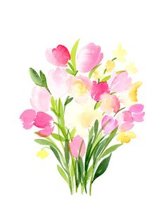Watercolor Spring Tulips Bouquet Art Print