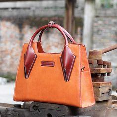 Handmade modern fashion leather tote bag messenger shoulder bag handbag for women lady AK02