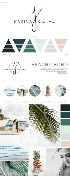 Beachy Boho with Tropical Colors. Nature. Minimalist Mood Board. Earthy. Adventure. Professional Business Branding by Designer Laine Napoli. Web Design, Logo, Mood Board, Brand Boards, and more.