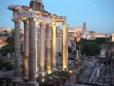 The Temple of Saturn  stands at the foot of the Capitoline Hill in the western end of the Forum Romanum in Rome, Italy.  While dedicated to the god Saturn, the temple's chief use was as the seat of the treasury of the Roman Republic (aerarium), storing the Republic's reserves of gold and silver. Also the state archives, the insignia and the official scale for the weighing of metals were housed in the temple.