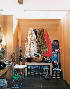 Modern, fur, ski boots, rustic bench
