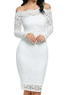 0a459c48e63 Women s Elegant Off Shoulder Twin Set Floral Lace Dress Bodycon Cocktail  Dress at Amazon Women s Clothing store  Confirmation Dresses WhiteWhite ...
