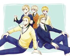 Hetalia Nordics- Norway looks like he's about to choke the hell out of Denmark....
