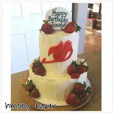 2 tier Fairy Tail anime birthday cake