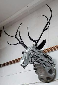 Deer made of hub caps