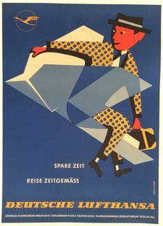 Original Travel Poster / Deutsche Lufthansa German Mid Century Airline Art Linen #Art #Sale