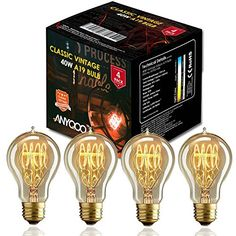 Buy ANYQOO Victorian Vintage Edison Bulb 40W A19 Dimmable Spiral Filament Incandescent Lamp for Decorative Pack of 4 - Topvintagestyle.com ✓ FREE DELIVERY possible on eligible purchases
