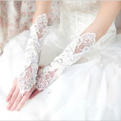 >> Click to Buy << Best Sale Lace Appliqued Wedding Bridal Gloves Beaded Sequined Cotton Fingerless High Quality Gloves Bride With Beaded Crystals #Affiliate