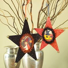 Halloween Star Ornaments  Recycle an old Halloween card into a glittery star ornament that shines brightly hanging from the bough of a tabletop tree or around a doorknob.
