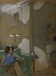 "huariqueje: "" Reading - Antoine Vincent French, b.1956- oil on paper """