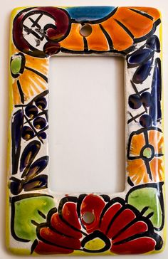 MEXICAN TALAVERA POTTERY ROCKER SWITCH PLATE TRSP004