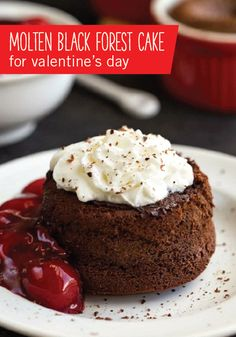 This recipe for Molten Black Forest Cake is perfect for Valentine's Day. Finished with a topping of whipped cream, sharing this rich and indulgent dessert with your special someone is sure to make the date that much more romantic.