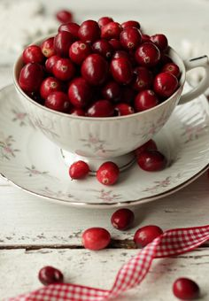 Cranberries in a teacup