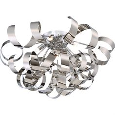 Ribbons Flush Mount Silver Ceiling Light by NorthupGallery on Etsy