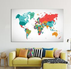 Yellow and blue large detailed world map wall art with countries detailed world map wall art with countries names canvas print multicolour large world map home decor world map canvas print ready to hang gumiabroncs Choice Image