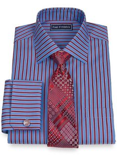 2-Ply Cotton Satin Stripe Spread Collar French Cuff Dress Shirt from Paul Fredrick