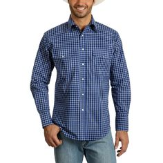 Look bold in the Men's Wrangler Shirt. This long sleeve shirt for men has a deep blue plaid with white contrasts. The men's snap shirt is built to be lightweight and comfortable. You can easily wear the Wrangler Shirts through any season. Tent Sale, Wrangler Shirts, Blue Plaid, Button Up, Long Sleeve Shirts, Shirt Dress, Cl, Fabric, Cotton