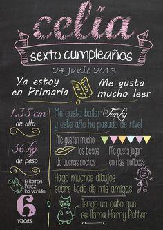 Recuerdo Cumpleaños Modelo Pizarra. quecosashaces.blogspot.com