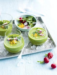 Iced green gazpacho with summer salsa