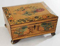 Hygra: Rare Painted Sycamore Antique Sewing box, circa 1815.