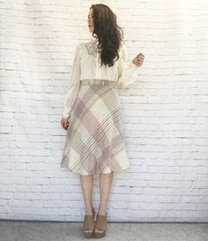 Vintage 70s Flared Wool Plaid Skirt Mauve Gray Cream Knee Length High Waist S by…