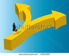 A business woman standing at the point where an arrow diverges into two paths. - stock vector
