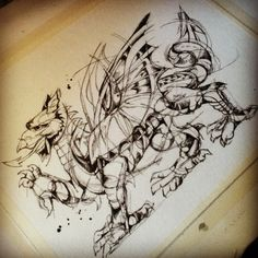 """Welsh Dragon tattoo design for Kris  Ink on watercolor paper.  8""""x10"""""""