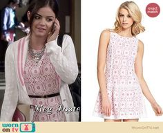 Aria's white and pink lace dress and varsity cardigan on Pretty Little Liars. Outfit Details: http://wornontv.net/18751