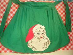 Vintage Christmas Apron Santa Claus Half by DottieDigsVintage