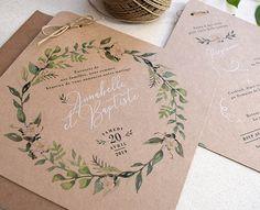 Faire-part de mariage Tropical par Wedding Card Design, Floral Wedding Invitations, Wedding Cards, Diy Wedding, Wedding Programs, Marriage Invitation Card, Flower Invitation, Rustic Invitations, Envelope Kraft