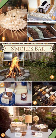 A s'mores bar how-to guide! Inspiring and stylish ways to plan a s'mores bar at your wedding!  #smoresbar #smoreswedding #smores