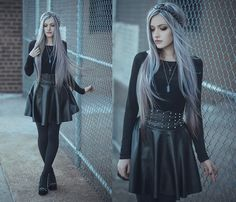 Anya Anti - Forever 21 Black Top, Spiked High Waisted Skirt, Ebay.Com Diy Spiked Shoes - Silver tone stone   LOOKBOOK