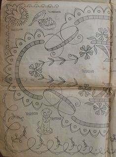 Dessins piqués n° 280 - 15 janvier 1924 (5) Cutwork Embroidery, Vintage Embroidery, Embroidery Stitches, Embroidery Patterns, Knitting Patterns, Cut Work, Heirloom Sewing, Old Paper, Blackwork