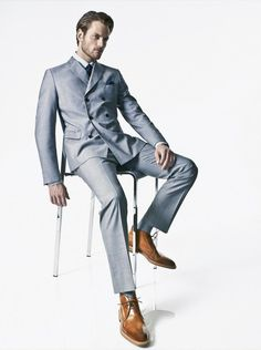 Fashionable Suits–Photographer Tony Kim and stylist Matthew Betmaleck come together for astylish and refined story published in the April 2012 issue of Esquire US, featuring models Brad Kroenig, Andrija Bikic and Milan Krouzil. Pulling out arefined and modern selection of tailored suits, Betmaleck outfits the trio, showing how to wear some of the sharpest suits of the season, matching them with luxury leather bags. /Grooming by Jodi Boland.