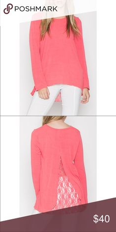 ✨JUST IN!✨ Monoreno Pink Lace Back Top NWT RETAIL! 💕 JUST IN! Monoreno lace peep slit back long sleeve top. Perfect for this upcoming fall season! 🍂🍁 3 Mediums for now but can order more. Get em while they're hot! 🔥🔥🔥 Monoreno Tops Blouses