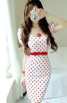 The popularity explosion Polka Dot Dress (with belt) Red Polka Dot Dress, Polka Dots, Elegant Outfit, Women's Summer Fashion, European Fashion, Colorful Fashion, Dress Patterns, Pattern Dress, Beautiful Dresses