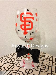 SF Giants Wine Glass with Baseball Bottom