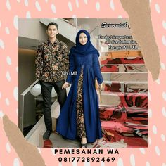 Setelan Dress Batik Couple Sarimbit Kombinasi Broklat Sarwendah Dress Kemeja Lengan Panjang Batik Couple, Couples, Model, Fashion, Moda, Fashion Styles, Scale Model, Couple