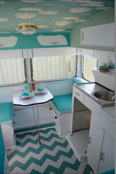 Retro vintage caravan camper trailer, aqua, mint, sea foam, teal, turquoise, coral, chevron, wallpaper, redshandy original!