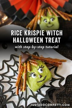 No tricks, just treats with these Rice Krispie Witch Halloween Treats! I think these sweet witches would be a fun addition to any Halloween party or classroom party! #halloween #halloweentreats #funwithfood #ricekrispiewitch #kidshalloween #creativefood