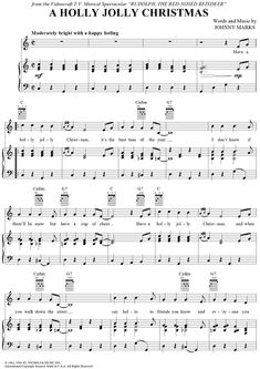 Digital Sheet Music for A Holly Jolly Christmas by Burl Ives, Johnny Marks scored for Piano/Vocal/Chords; Viola Sheet Music, Trumpet Sheet Music, Piano Sheet Music, Music Sheets, Vintage Sheet Music, Christmas Piano Music, Christmas Songs Lyrics, Piano Lessons, Music Lessons