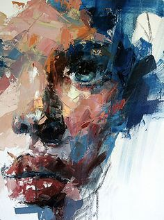 Artist: Ryan Hewett (South African, b. 1979), oil and acrylic and spray {contemporary #expressionist art female head grunge woman face cropped mixed media painting detail #loveart} ryanhewett.com